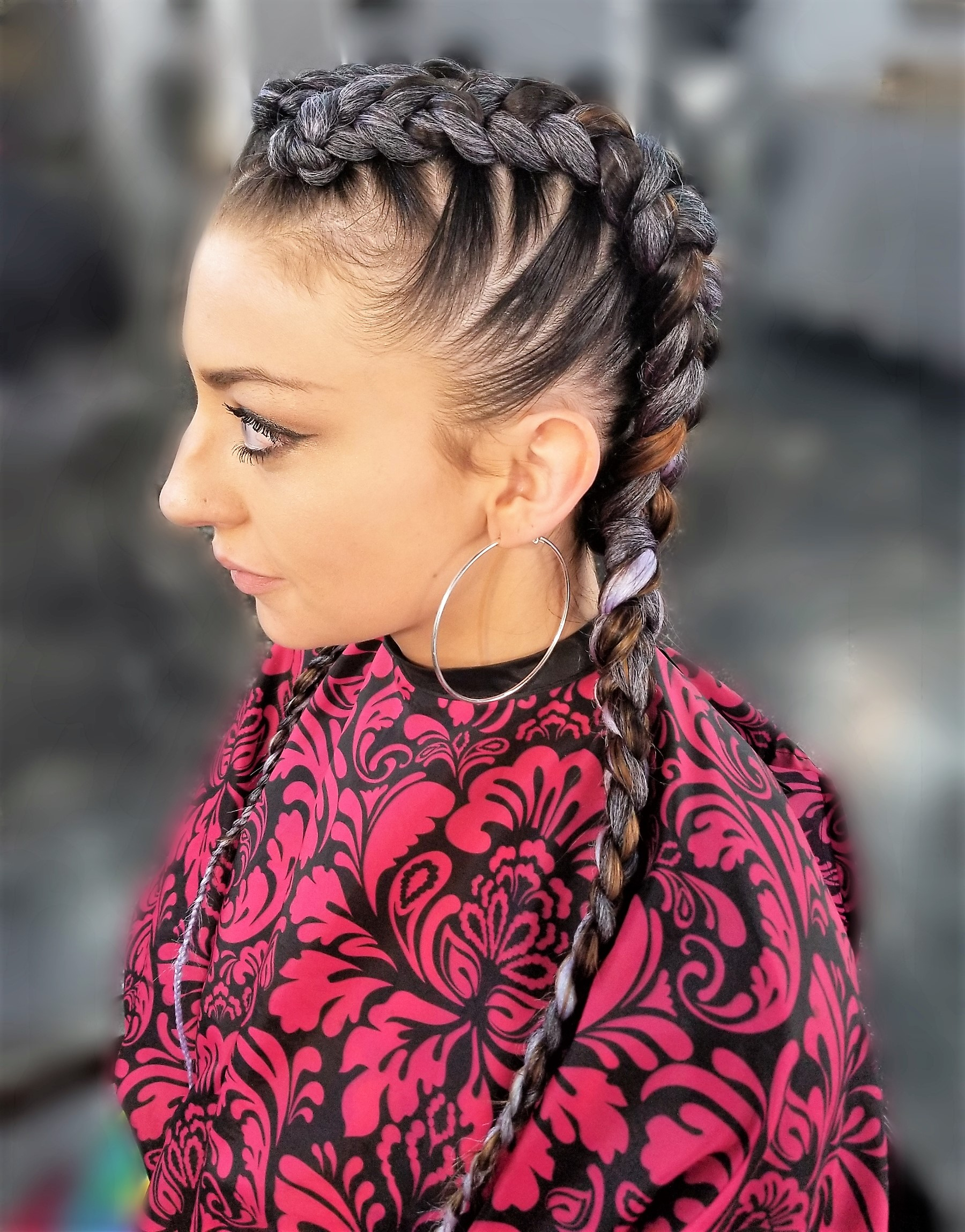 Two Braids with Added Hair