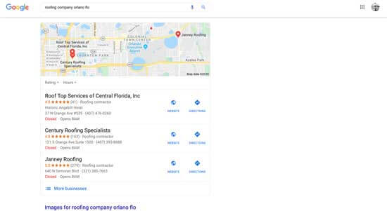 Google Search map pack