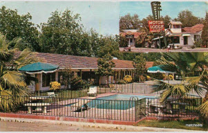 Postcard from 1950s of still active 'Modern Motor Lodge' Lodi CA replete with  fun 'sales' description on back. Motel survives today, even with preserved sign in its  original decay