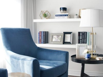 This client loves books, and we were able to incorporate them into the display cleanly by removing the busy dust jackets in favour of the simpler hardcovers