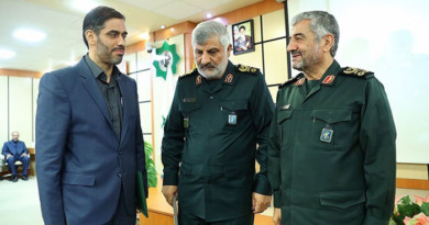 "Left to right: Saeed Mohammad, new IRGC-KACB Commander; Brigadier General Ebadollah Abdollahi, outgoing IRGC-KACB Commander; IRGC Commander Commander Major General Mohammad-Ali (AKA ""Aziz"") Jafari"