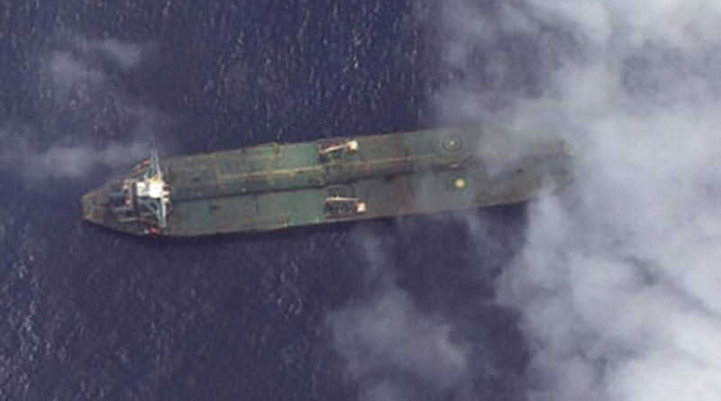 Satellite image of oil tanker Adrian Darya One off the Syrian coast.