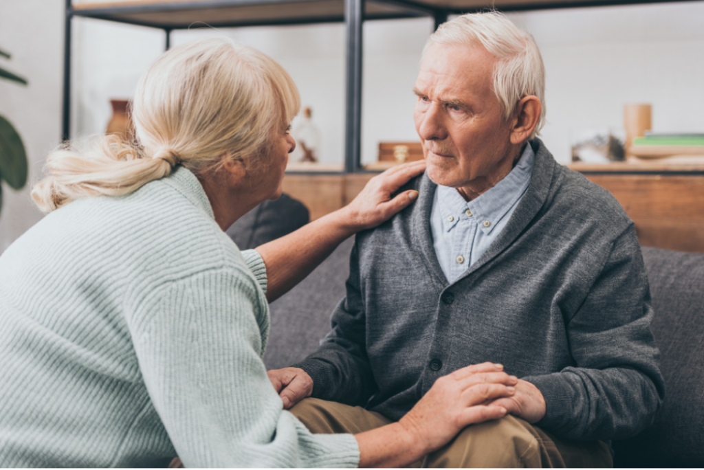 dementia patient getting help from wife