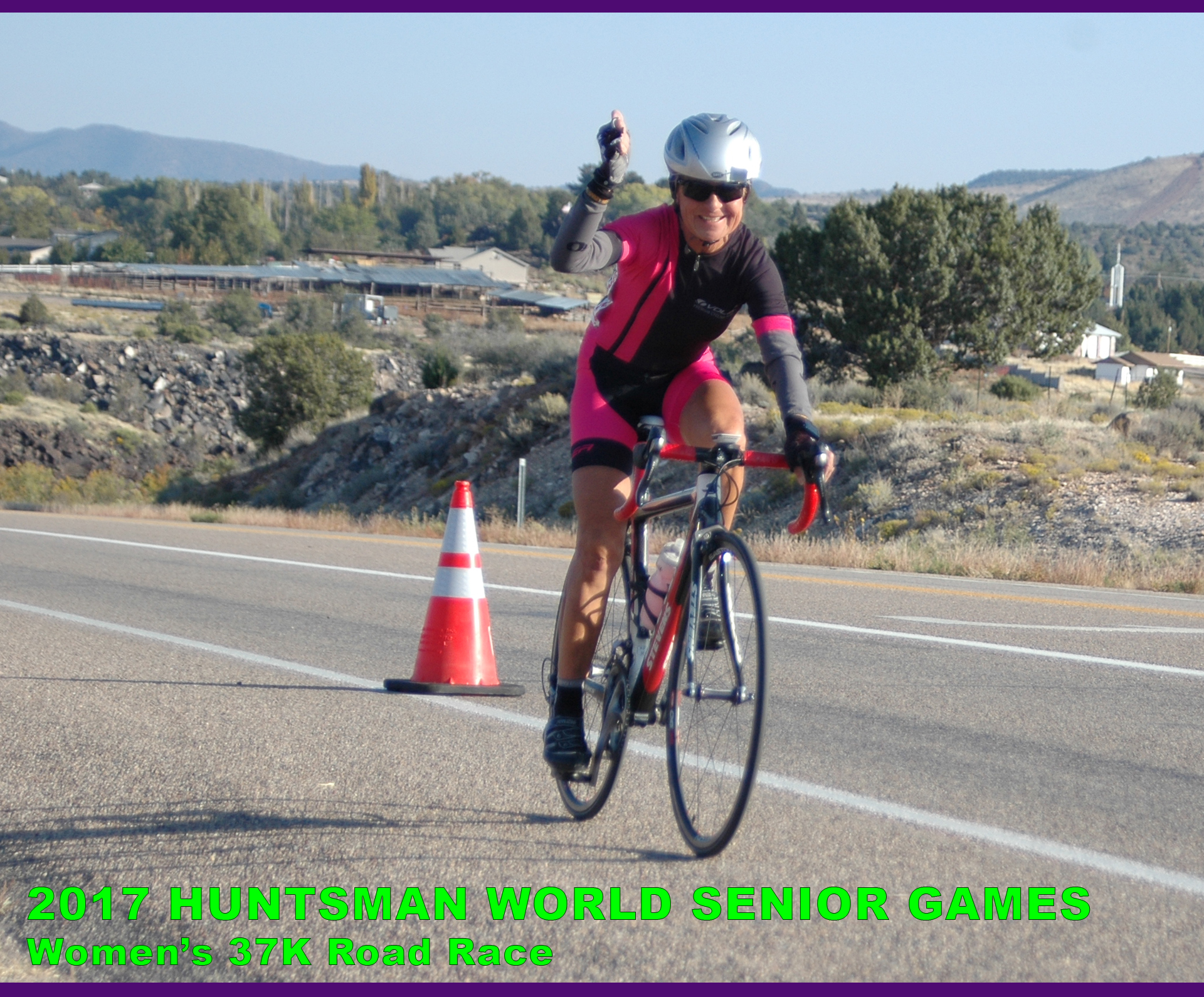 woman cyclist at 2017 Huntsman World Senior Games road race