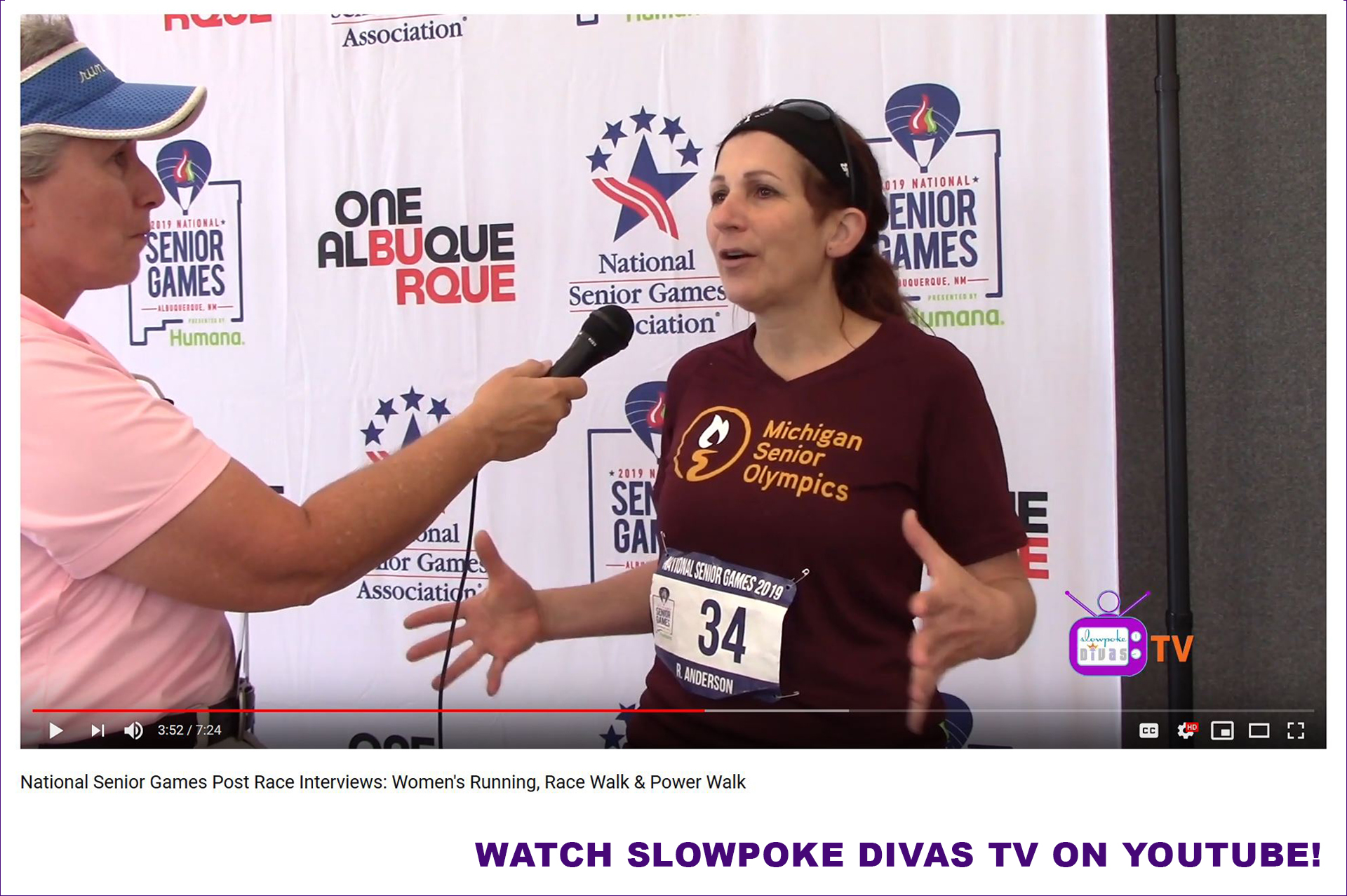 screenshot of 2019 National Senior Games race walker Roberta Anderson appearing on Slowpoke Divas TV