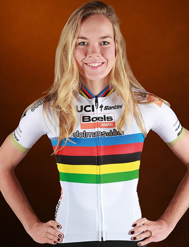 color photo of anna van der breggan. photo credit to boels dolmans cycling team
