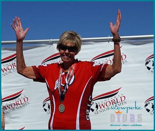 deena millecam wins gold at 2019 Huntsman World Senior Games criterium cycling