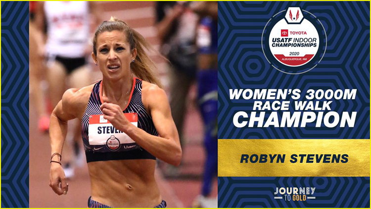 Photo of Robyn Stevens wining  women's 3000m race walk championship at Toyota USATF Indoor Championships