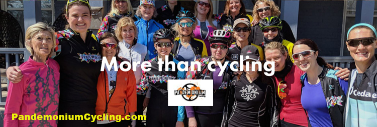 Group photo of Pandemonium Cycling's women riders