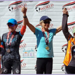Top four finishers in the Huntsman World Senior Games' cycling 5K hill climb in women 65-69.