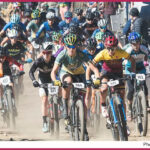 mass start of women's mountain bike race. photo credit to usa cycling