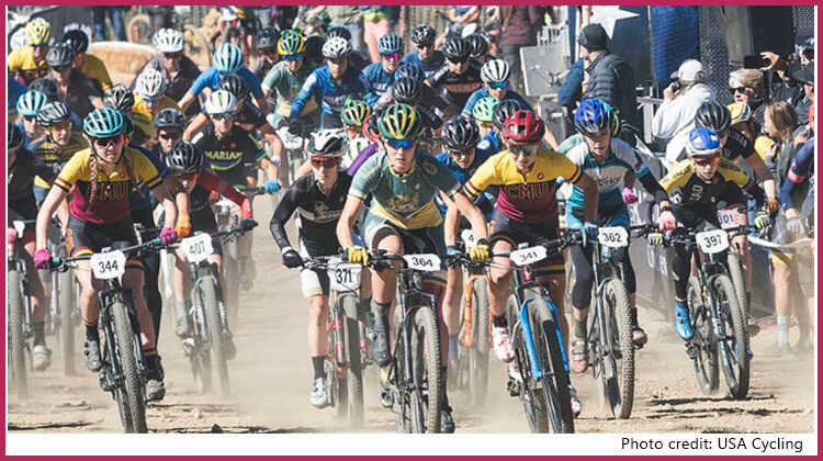 mass start of women's mountain bike race. photo credit to usa cycling