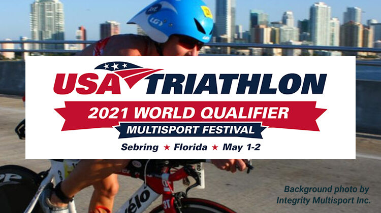 USA Triathlon 2021 world qualifier logo with background image by Integrity Multisport Inc