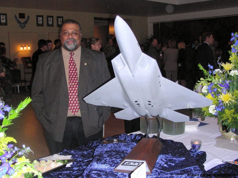 Karl LeRay at the buffet table after the ceremony
