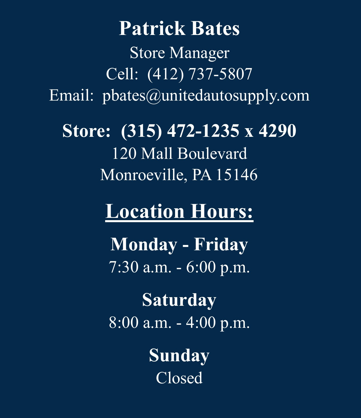 Monroeville - Manager Info