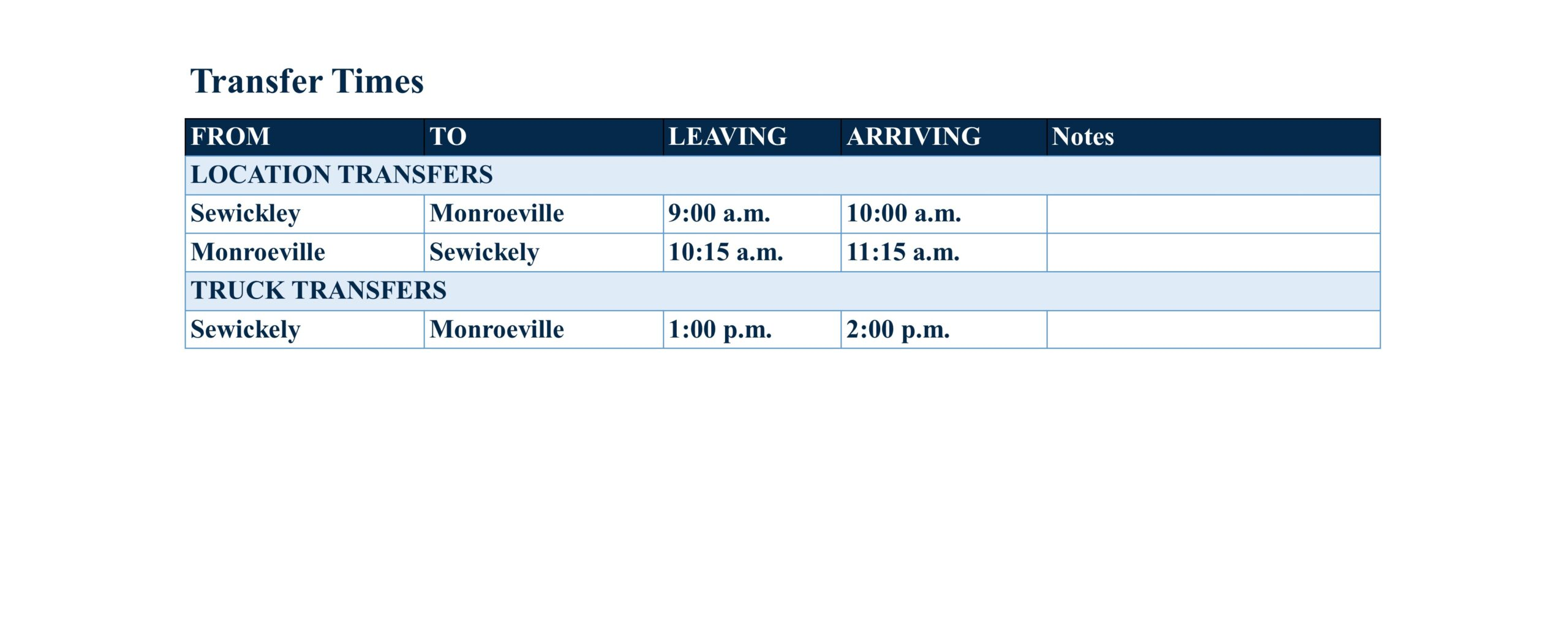 Monroeville - Transfers