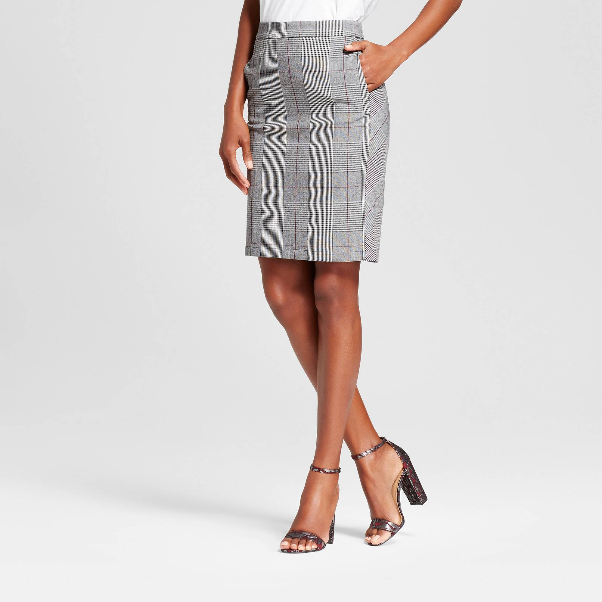 a new day plaid pencil skirt