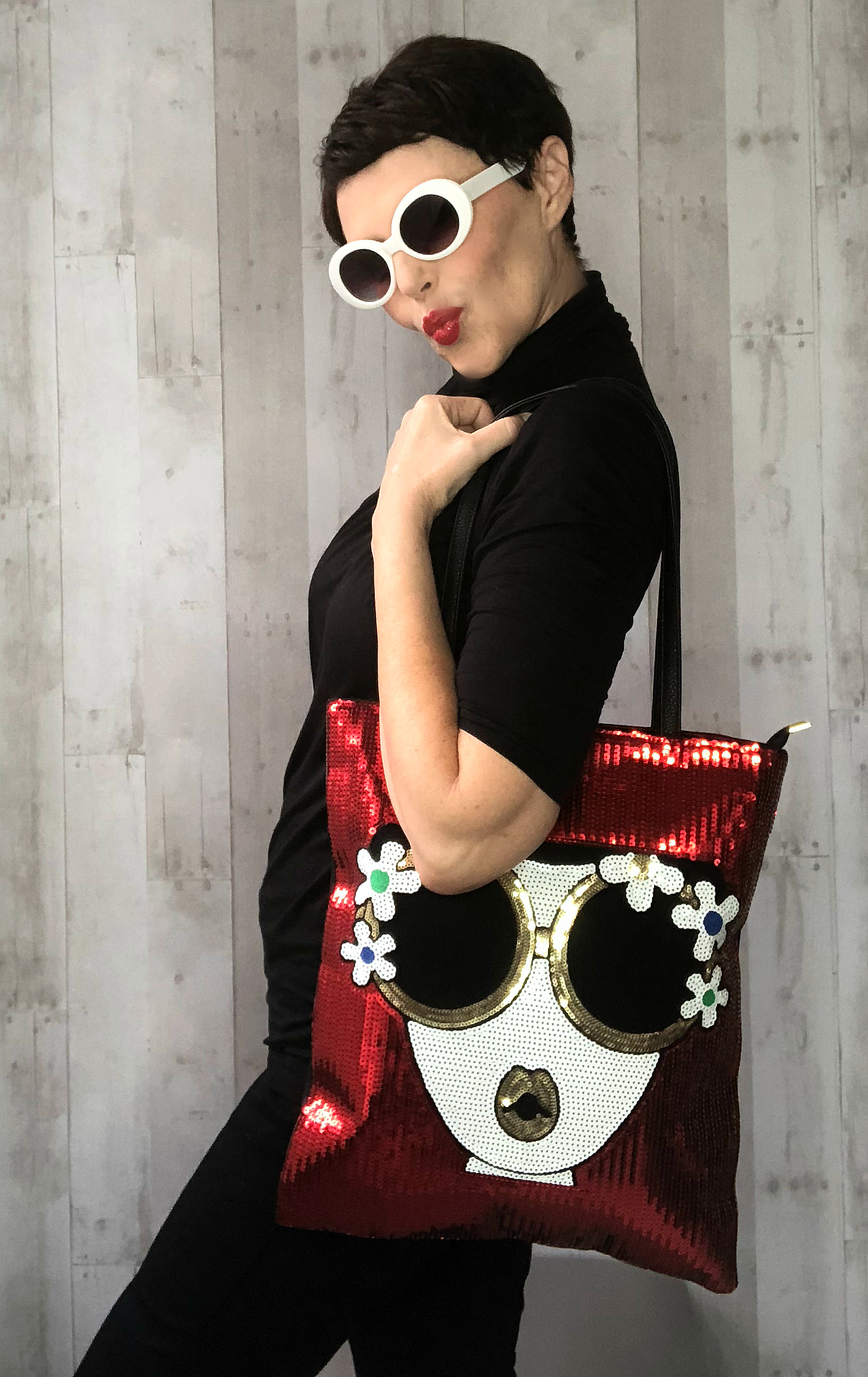 groovy sequin lady tote
