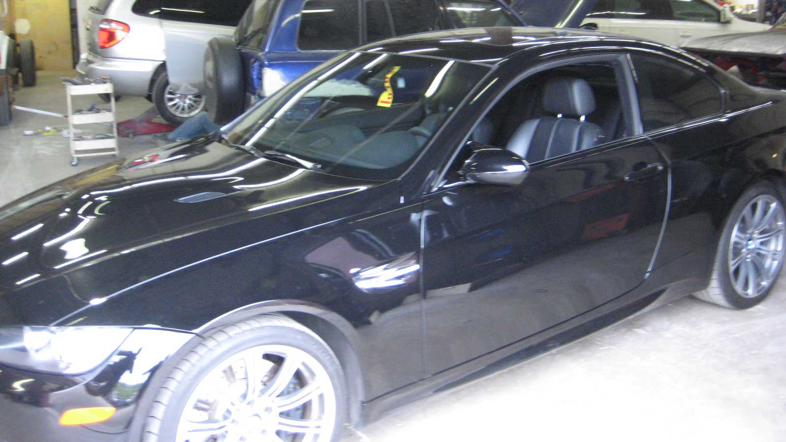 Black car with new windshield