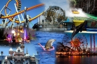 Collage of Anaheim attractions