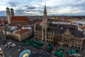 Rathaus square in Munich, Germany.