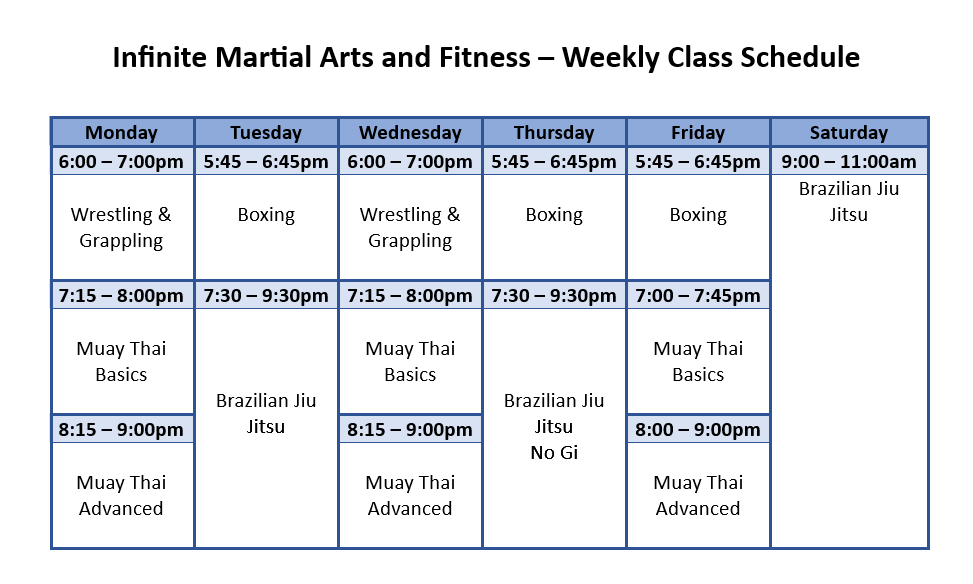 martial arts schedule