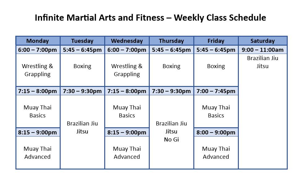 martial arts schedule
