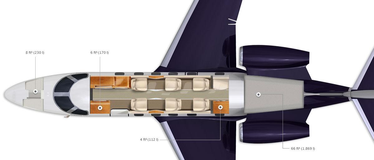 Phenom 300 standard cabin config