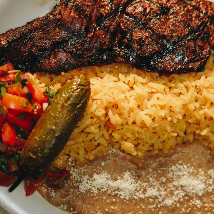 Mexican Food, Steak with beans, rice and pico de gallo