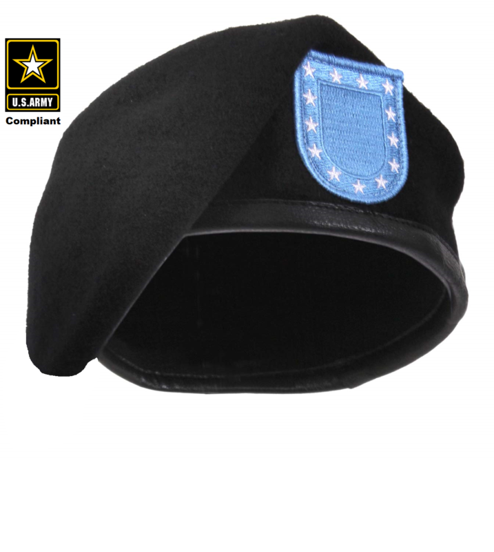 Army Pre Shaped Inspection Ready Black Beret with Flash