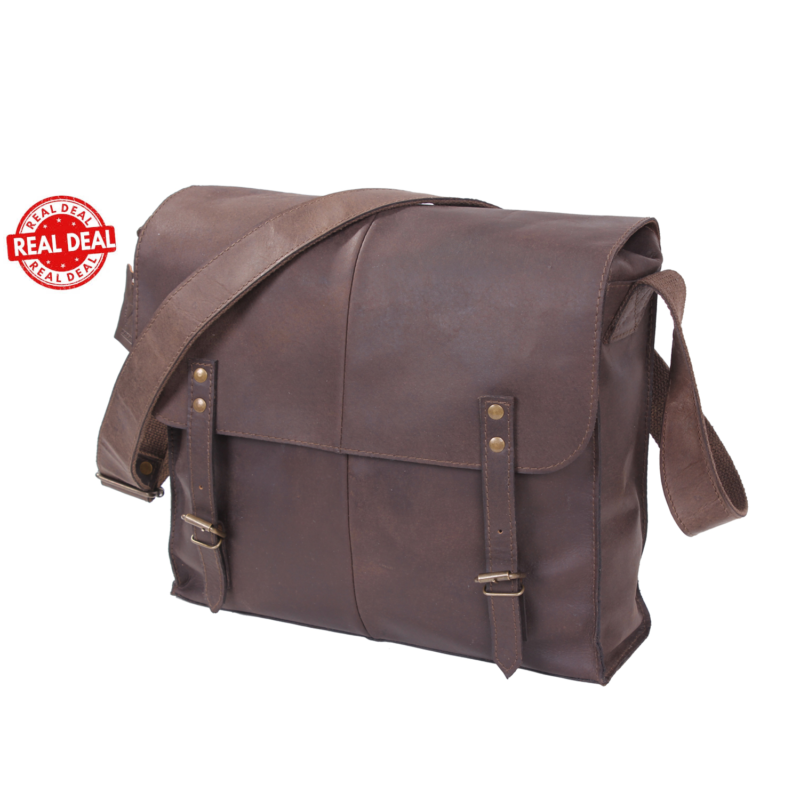 Genuine Brown Leather Messenger  Bag