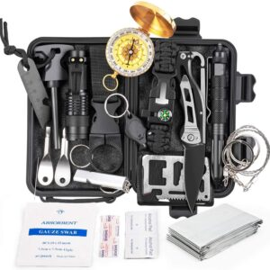 Survival Gear and Equipment,18 in 1 Emergency Survival Kit, Professional Defense Tool