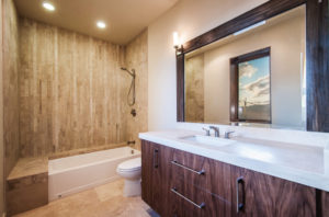 Bathroom with custom mirror and hardware, Park City