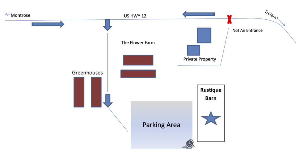 Parking Instructions for Rustique Wedding & Events Barn in Delano