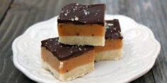 Millionaire Bars with Shortbread Crust, Caramel Filling and Salted Chocolate Topping