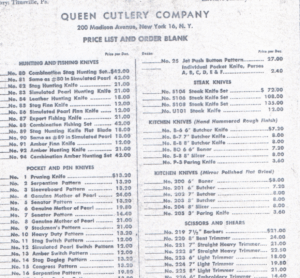 Queen Cutlery Historical Price Lists and information on knives