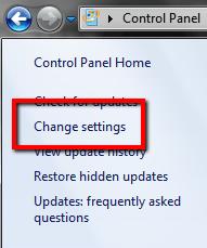 Window 7: Change Settings