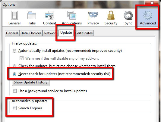 Firefox disable Update