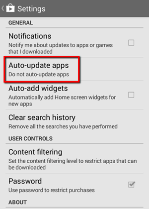 Google Play Settings - Auto-update apps