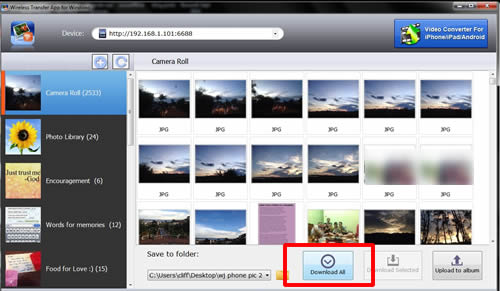 Transfer pictures from iPhone to PC through Wifi - Download All