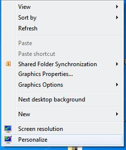 Window 7 Personalize
