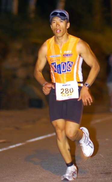 Cliff Tam running in the Ironman USA 2007