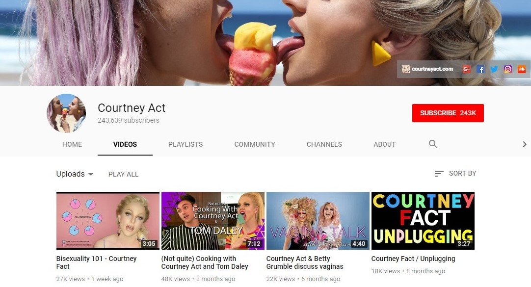 Courtney Act's YouTube Channel.