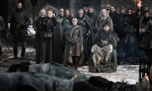 Liam Cunningham, Rory McCann, Maisie Williams, Isaac Hempstead Wright, and Sophie Turner in Game of Thrones (2011)