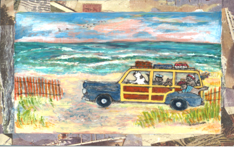 """""""Cat Vacation""""  8 x 10 Matted Print   $35"""