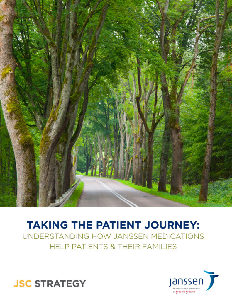 The cover of the Taking the Patient Journey booklet for Janssen Pharmaceuticals