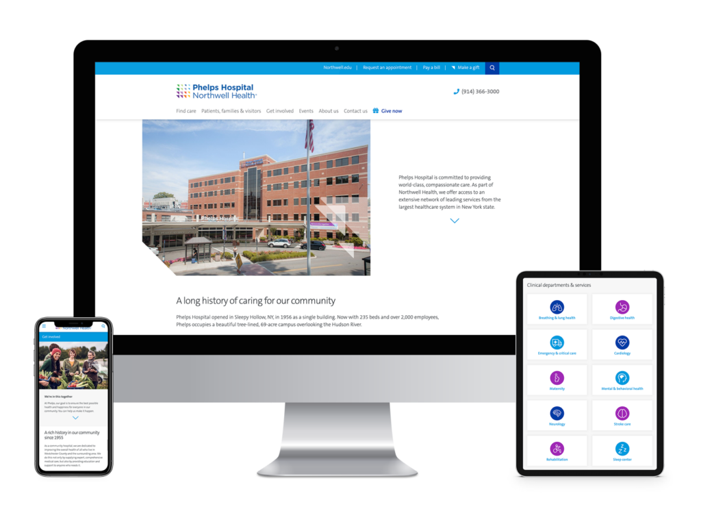 Phelps Hospital website as seen on different devices