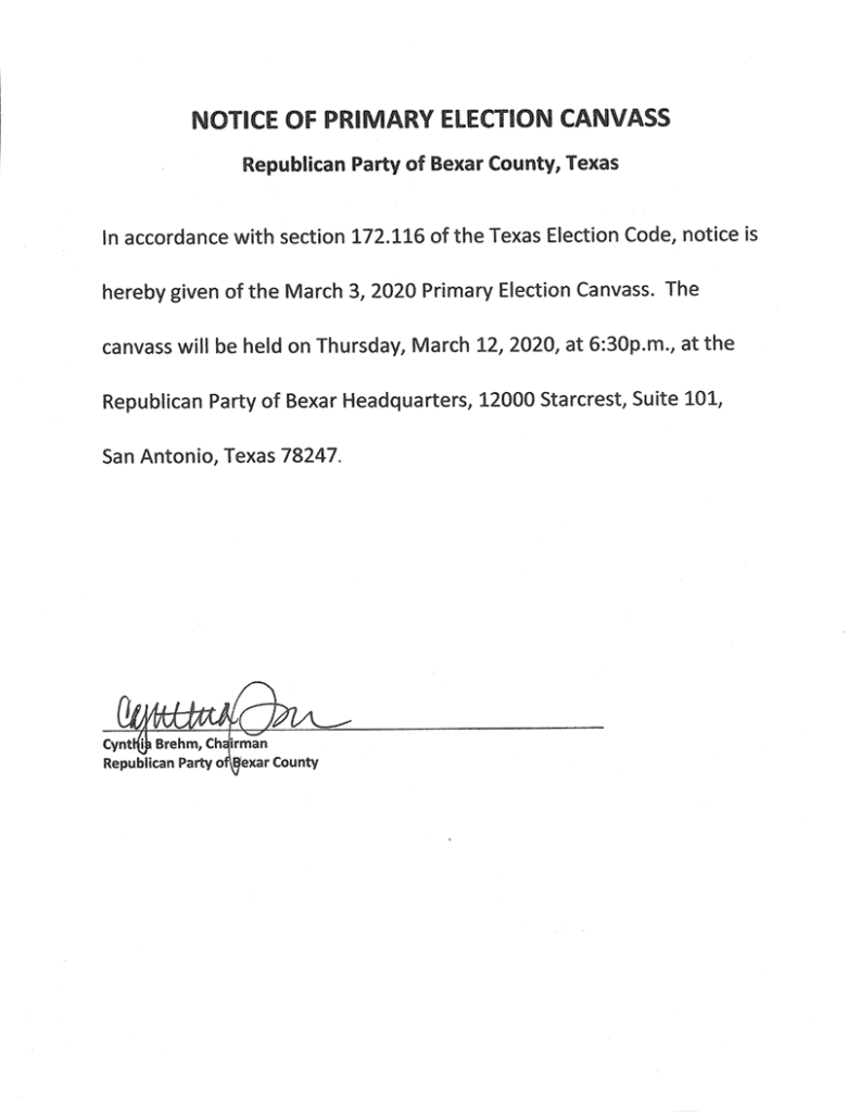 Notice of Primary Election Canvass