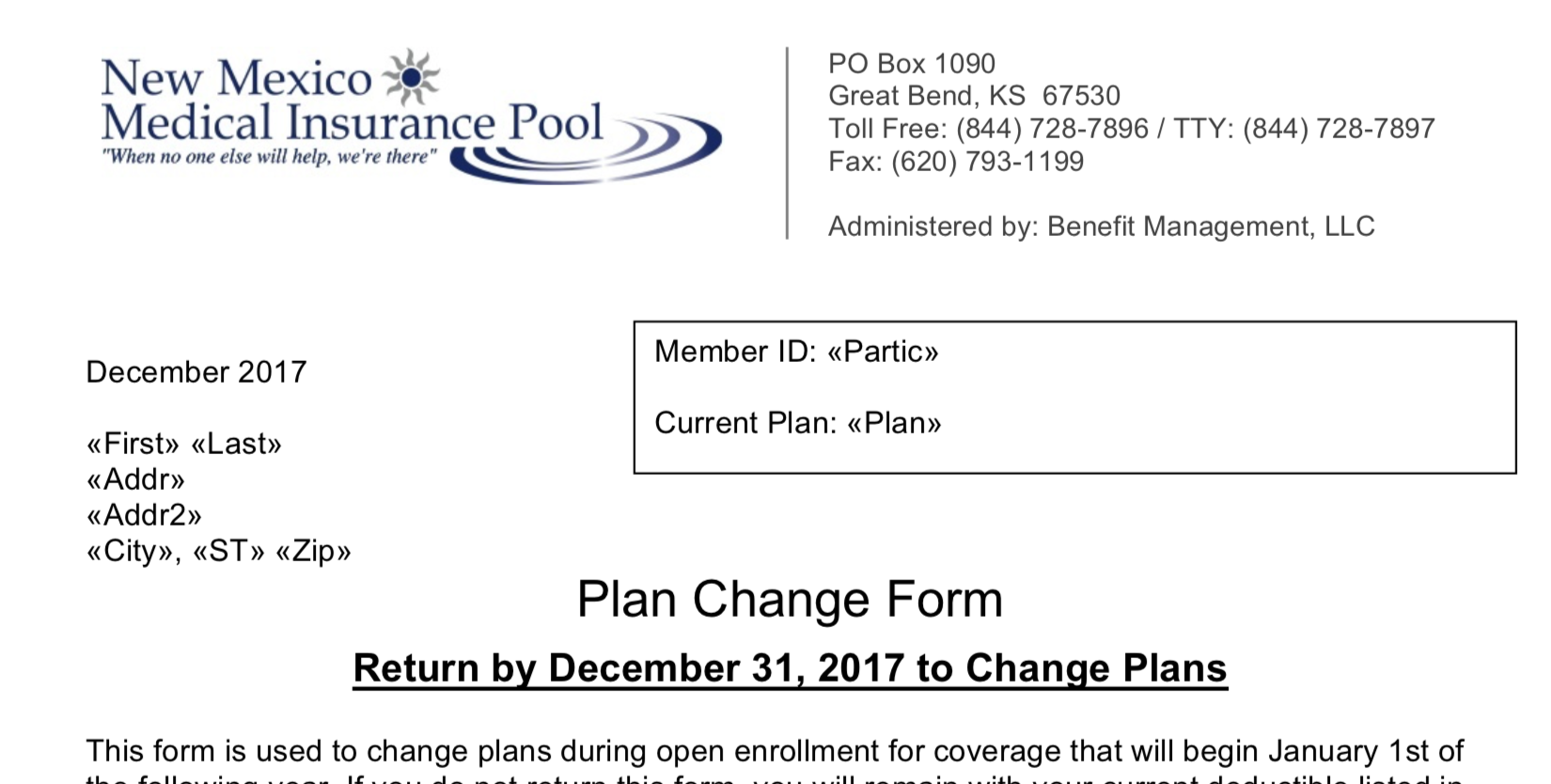 Plan Change Form