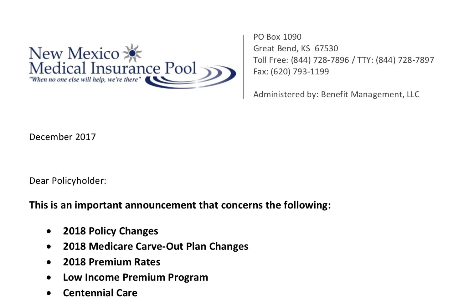 2018 Rate Change Letter